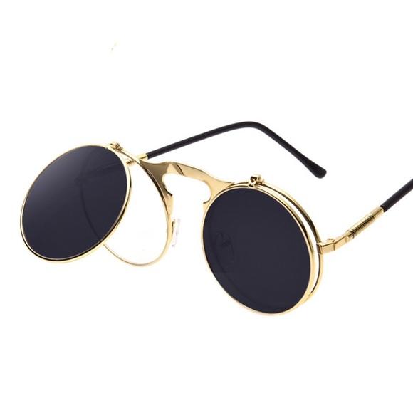 4711856f1a21 Men s Retro Gold Frame Flip Sunglasses